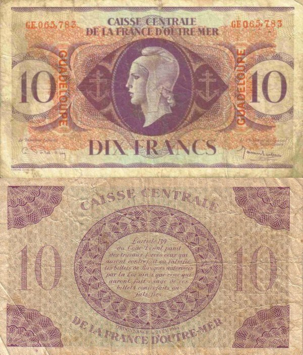 Guadeloupe 10 Francs Banknote, 1944, P-27a