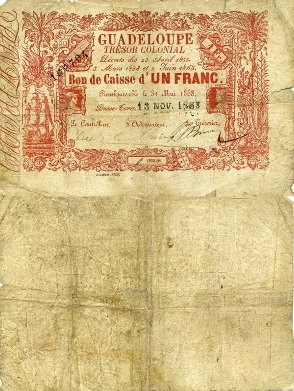 Guadeloupe 1 Franc Banknote, 1863, P-A13a.3